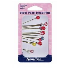 Steel Pearl Head Pins in Tin